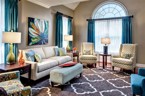 Blue Living Room Curtain Ideas Teal Curtain Ideas Dining Room Eclectic With Craftsman