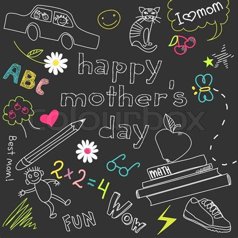 mother s day card in a style of a child s drawing vector