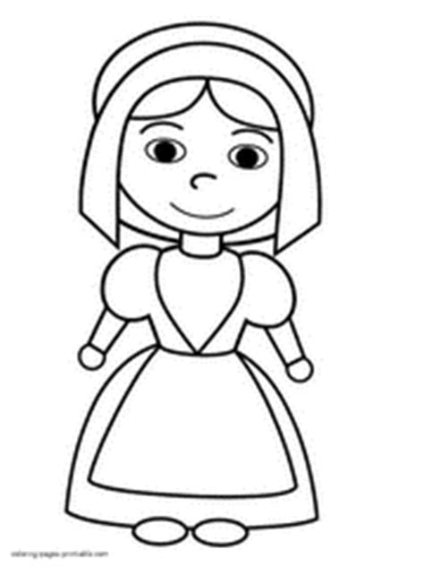 coloring page of a pilgrim girl thanksgiving coloring pages for kids