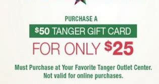 Tanger Gift Card 50 For 25 - tanger outlet malls 50 tanger gift card for just 25 modmomtv