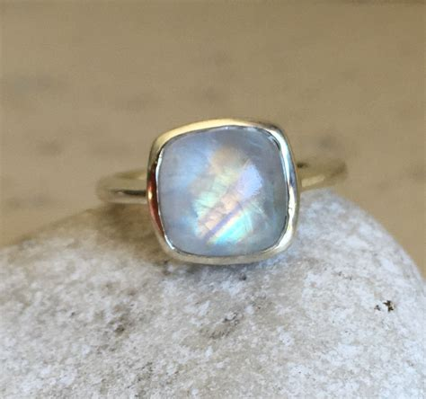Moonstone Ring rainbow moonstone ring square ring gemstone ring