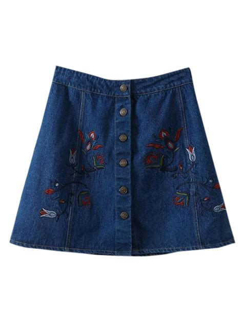 Embroidered A Line Denim Skirt denim floral embroidered a line skirt blue skirts m zaful