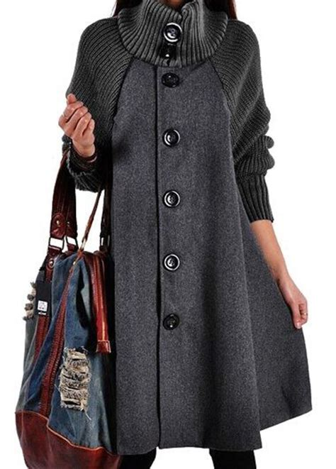 swing coat button closure sleeve grey swing coat modlily
