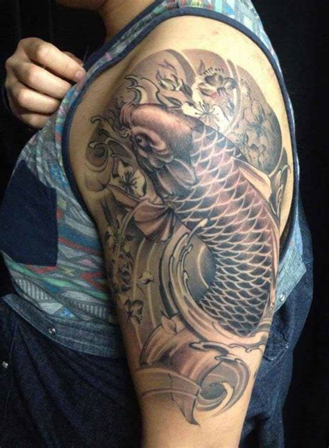 black koi fish tattoo koi sleeve black www pixshark images