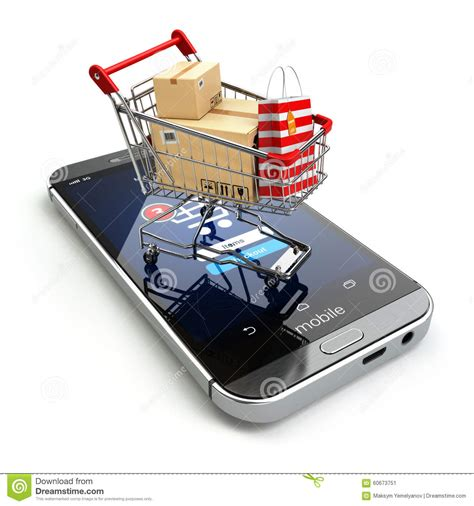 Smart Phone Smart Shopping by Shopping Concept Mobile Phone Or Smartphone With