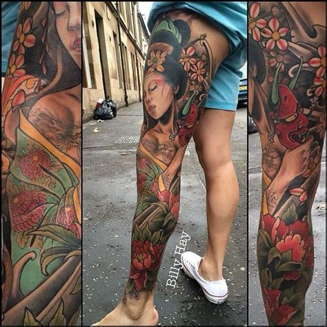 geisha tattoo on thigh leg sleeve with geisha by billy hay think before you