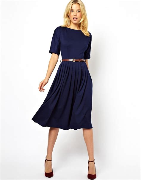 image 1 of asos midi dress with skirt and belt