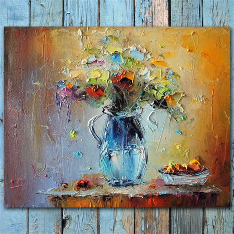 the modern flower painter palette knife flowers oil painting colorful still life