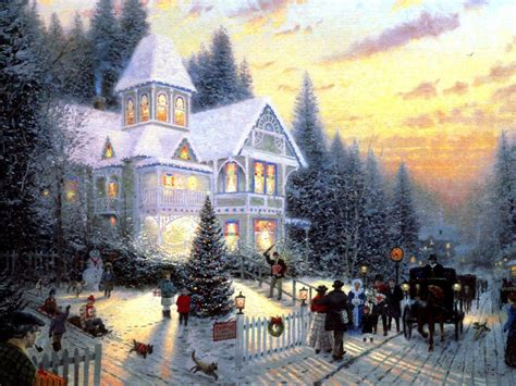 wallpaper christmas scenes free thomas kinkade wallpapers for desktop wallpaper cave