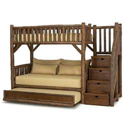 Trundle Bunk Bed With Stairs Rustic Bunk Bed With Trundle And Stairs 4690l 4692r