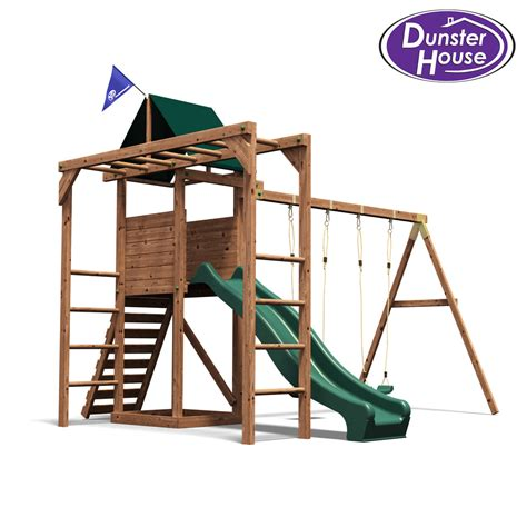 wooden slide and swing set uk monkeyfort woodland wooden childrens climbing frame swing
