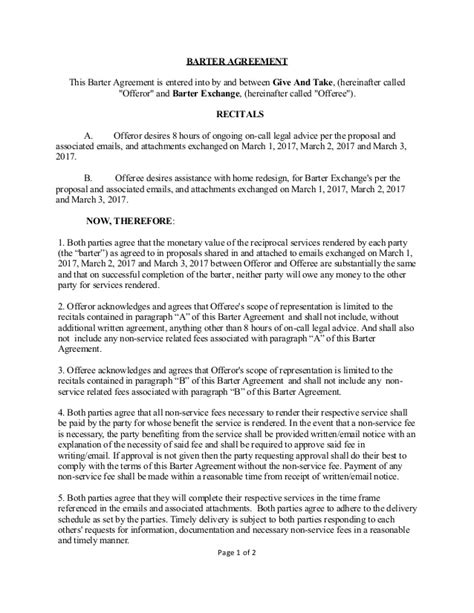 barter agreement template barter agreement