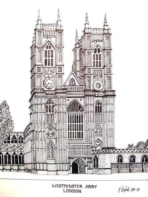 westminster abby pen and ink drawing by frederic kohli of the historic westminster abby in