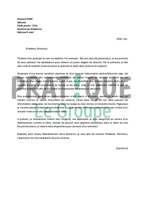 Lettre De Motivation De Securite Cv De S Curit Debutant