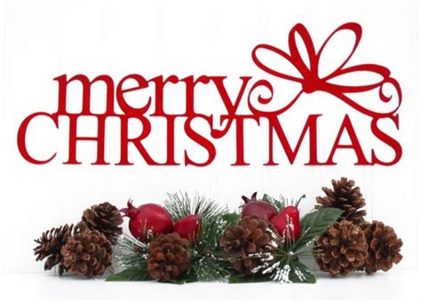 merry christmas metal sign  bow red  metal wall