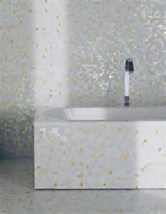 mosaic tile bathroom with bisazza white gold tile photo by