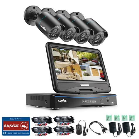 outdoor security sannce 4ch 1080n dvr lcd monitor 1500tvl outdoor ir home
