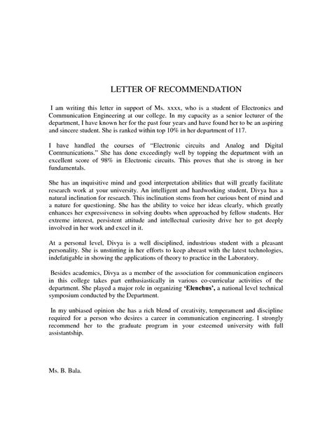 Sle Recommendation Letter For Undergraduate Student Pdf Letter Of Recommendation For Student 100 Images Sle Physician Letter Of Recommendation 7