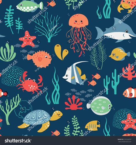 underwater pattern background seamless cute underwater pattern on dark stock vector