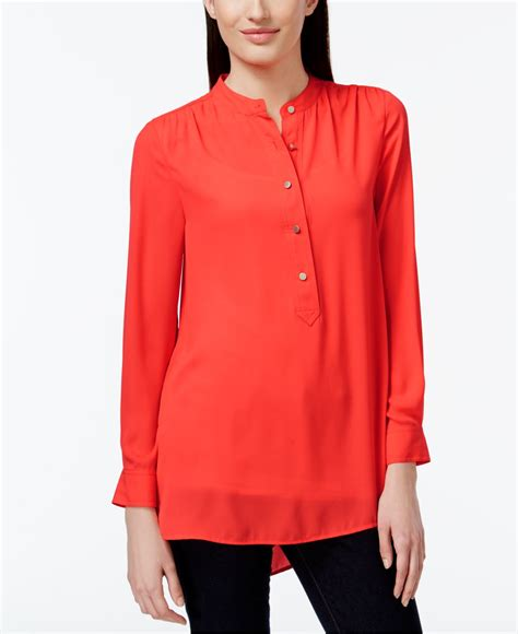 Forever21 River Coral Blouse cece by cynthia steffe solid mandarin collar blouse in
