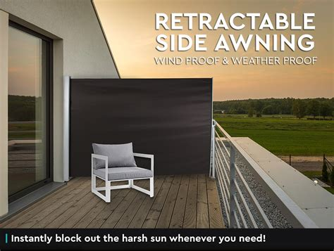 Retractable Awning Side Shade by 1 8x3m Retractable Side Awning Privacy Screen Shade Patio
