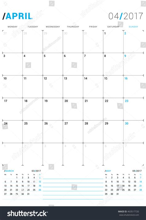 printable monthly calendar week starts monday april 2017 vector print template monthly stock vector