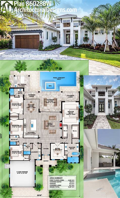 great house designs plan 86028bw florida living with wonderful outdoor space