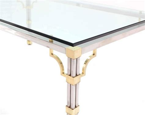 Glass Top Conference Table Glass Top Rectangle Chrome Brass Dining Conference Table For Sale At 1stdibs