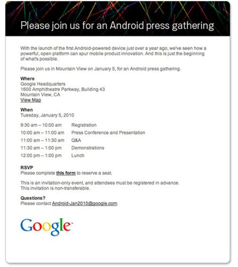 Press Conference Invitation Letter To Media Android Press Conference On Jan 5 Nexus One On The Cards Tech Ticker