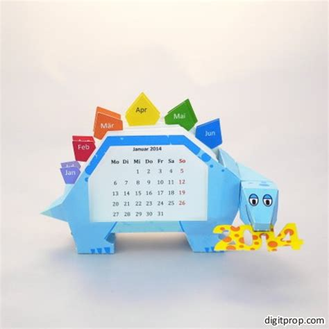 Paper Craft Calendars - papercrafted weekly calendar stegosaurus digitprop