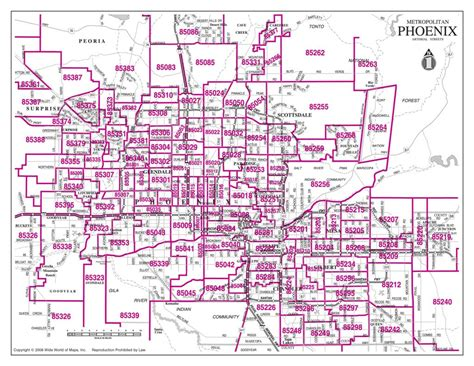 arizona zip code map zip codes map