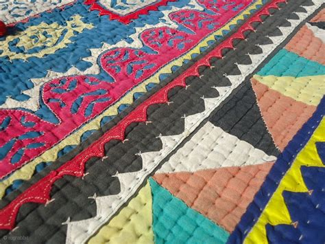 Sewn Patchwork Quilt - a vintage applique and patchwork ralli quilt of mid 20th