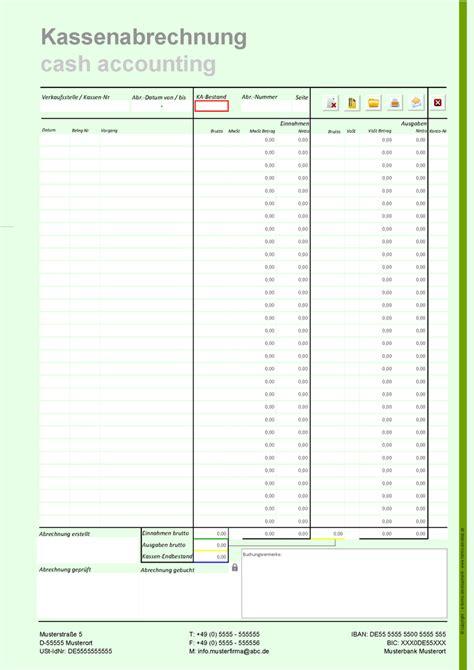 Rechnung Muster Vortrag Kassenbericht Formular Im Pdf Format Din A4h