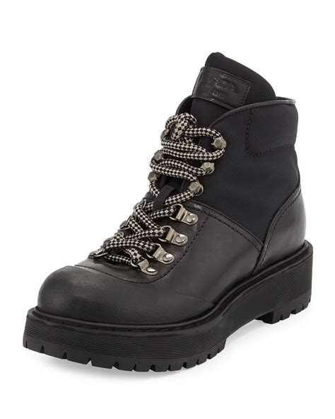 prada hiking boots prada low leather hiking boot in black for lyst