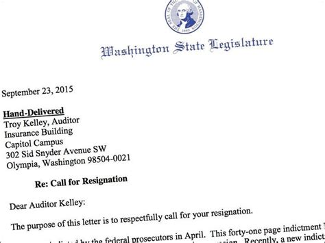 Auditor Resignation Letter by Indicted Washington Auditor Faces New Call To Resign