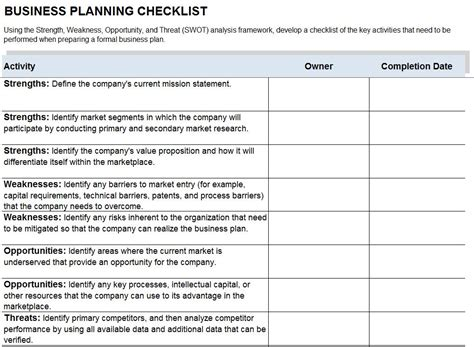 business plan checklist template checklist template free printable checklist templates