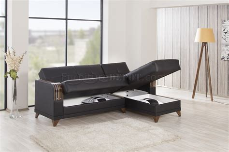 Azmeela Almira Classic Black almira sectional sofa in black leatherette by casamode