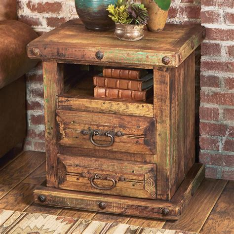 Rustic Wood Nightstand rustic reclaimed wood nightstand table
