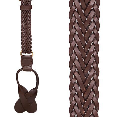 brown leather herringbone braided suspenders button