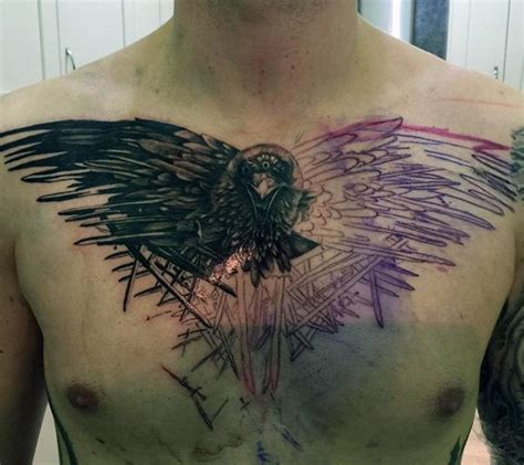 raven chest tattoo 100 designs for scavenge sooty bird ink