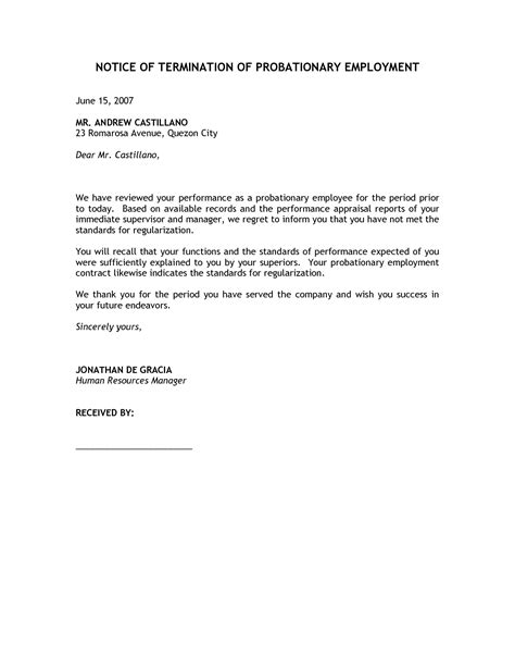 Termination Letter Format Notice Period Best Photos Of Sle Employment Termination Letter To