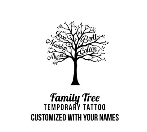 customized temporary tattoos custom family tree with names temporary by