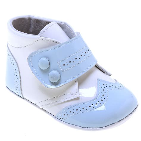 and boys shoes baby boys high ankle support baby blue and white patent