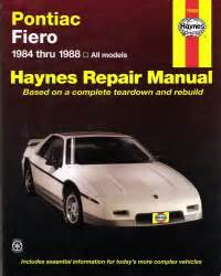 online car repair manuals free 1988 pontiac fiero lane departure warning 1984 1988 pontiac fiero haynes repair manual