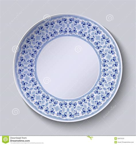 plate patterns circular blue flower pattern with empty space in the