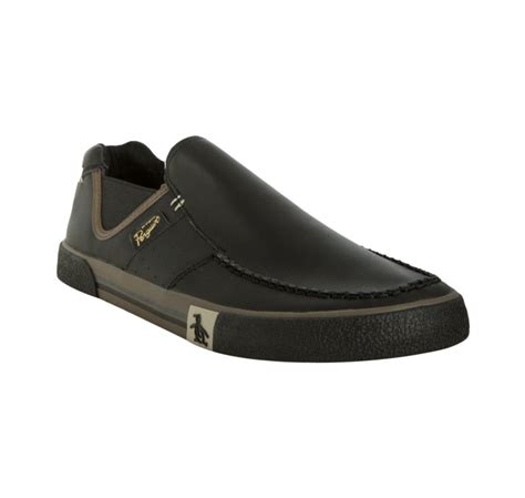 guess original slip on original penguin black leather ernie slip on loafers in