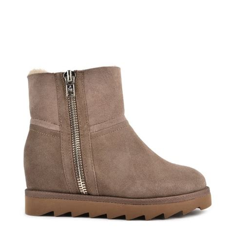 ash yang taupe shearling wedge ankle boot