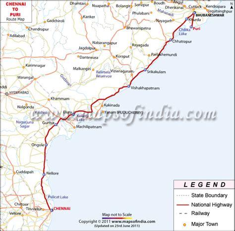 printable chennai road map chennai puri route map