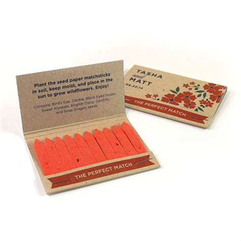 How To Make Seed Paper Favors - rustic wildflower seed paper matchbook favor plantable