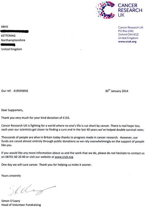 Thank You Letter For Cancer Donation xbhx xbhx charity donations